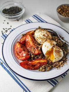 Lentils, Harissa-Roasted Tomatoes, Dukka-Rolled Eggs {Katie at the Kitchen Door} #recipe