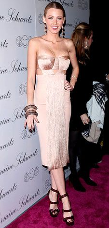 Who made  Blake Lively's sandals, jewelry and pink fringe dress that she wore to the launch of the Lorraine Schwartz's 2BHappy line?