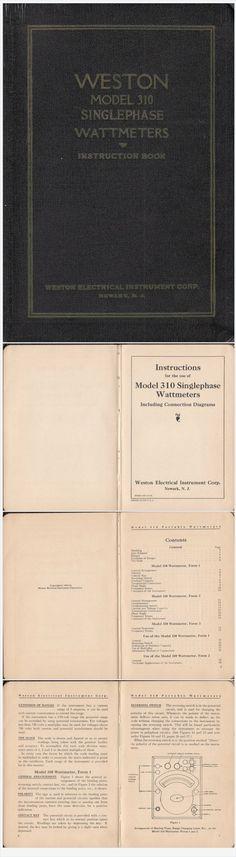 Weston Model 310 Singlephase Wattmeters Instruction Book 1944 Diagrams