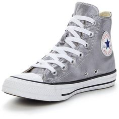 Converse Chuck Taylor All Star Seasonal Metallics Hi-Tops (€61) ❤ liked on Polyvore featuring shoes, sneakers, zapatos, converse, shoes - sneakers, metal sneakers, converse trainers, fleece-lined shoes, high top sneakers and high top trainers