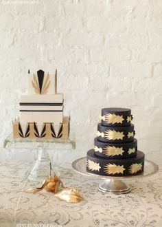 Bold Black and Gold Art Deco Wedding Cakes
