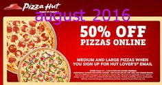 Pizza Hut coupons & Pizza Hut promo code inside The Coupons App. off pizzas online via email at Pizza Hut April Pizza Coupons, Shopping Coupons, Grocery Coupons, Shopping Deals, Free Printable Coupons, Free Coupons, Free Printables, Pizza Hut Coupon Codes, Godfathers Pizza