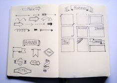 Pfeile, Rahmen und Banner - Skizzen fürs Bullet Journal