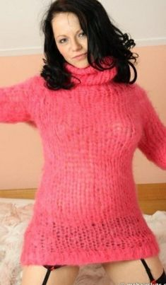 Angora Sweater, Pink Sweater, Sweater Outfits, Gros Pull Mohair, Turtle Neck, Sweaters, Cardigans, Wool, Jumpers