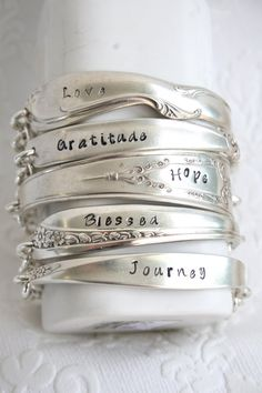 "This delightful vintage silverware bracelet is hand-stamped with word ""Hope"". These charming little bracelets are made from a single vintage silver plated spoon handle. Each silverware pattern is love Silver Spoon Jewelry, Fork Jewelry, Silver Spoons, Metal Jewelry, Jewelry Bracelets, Vintage Jewelry, Bullet Jewelry, Leather Bracelets, Leather Cuffs"