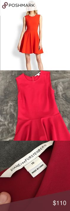 DVF Jeannie Dress Holy Date night Bateman! Beautiful DVF  in a stunning red. Style name is Jeannie. Zip back, thick fabric. Higher neckline. This is a classic little red dress perfect for any closet. I am larger chested and this cut does not work for me. Send offers! 💗🦄 Diane von Furstenberg Dresses