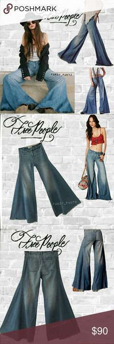 🌼✅Free People Vintage extreme wide flare jean 30 Wildly popular, hard to find, Free People high waisted, extreme wide leg, bell bottom jeans. Free edge, frayed bottom hem, slit front pockets. Medium wash. Size 30.  Inseam is 32 Measurements in last photo. ABSOLUTELY NO TRADES PLEASE! REASONABLE OFFERS WELCOME THROUGH OFFER FEATURE.   ✳request an exclusive, non obligatory custom offer from me✳ Free People Jeans Flare & Wide Leg