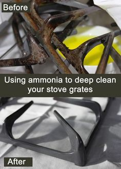 My Great Challenge: How to clean your stove grates using ammonia - Cleaning Hacks Household Cleaning Tips, Deep Cleaning Tips, Toilet Cleaning, House Cleaning Tips, Diy Cleaning Products, Spring Cleaning, Cleaning Hacks, Household Checklist, Cleaning Grease
