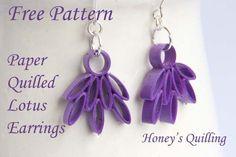Paper Quilled Lotus Earrings – Free Pattern - www.honeysquilling.com