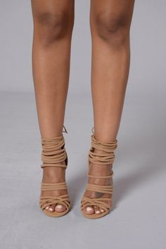 """- Available in Camel - Strappy Sandal - Suede - Ankle Tie - Zipper Back Closure - 4"""" Heel"""