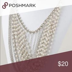 Pearl and Chain Bib Statement Necklace Set Silver plated and Pearl Bib Necklace Set PERSONAL PERSONA Jewelry Necklaces