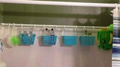 If you have tons of bottles in the shower, you can easily organize them by simply adding another shower rod. Hang small baskets from the shower rod to keep shampoo and conditioner as well as shaving supplies, bath sponges and soaps off the shower wall. Add a basket for bath toys and other items as well. This is a great idea for drying delicates and bathing suits as well.
