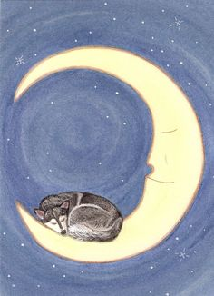 This is my newest: Siberian husky takes a nap on the moon / Lynch signed folk art print by watercolorqueen on Etsy