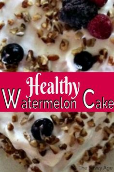 The healthy fruit cake! Let watermelon be the base for your healthy eating cake. Add your favorite berries to decorate the watermelon cake. Healthy Fruit Cake, Healthy Fruits, Healthy Recipes, Cheap Clean Eating, Clean Eating Snacks, Healthy Eating, Watermelon Cake Recipe, Easy Desserts, Delicious Desserts