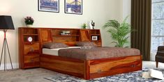 Buy Harley King Size Sheesham Wood Storage Bed with Bedside Online in India - Wooden Street Bed Furniture, Furniture Design, Wooden Bed With Storage, Headboard With Shelves, King Storage Bed, Wooden Street, Bedroom Closet Design, Wood Bedroom, Wood Beds