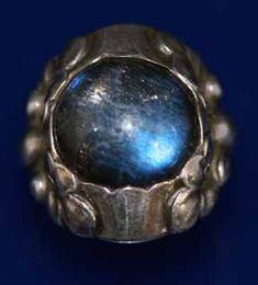 Georg Jensen. Design no. 11 A. Ring. Sterling silver and labradorite.