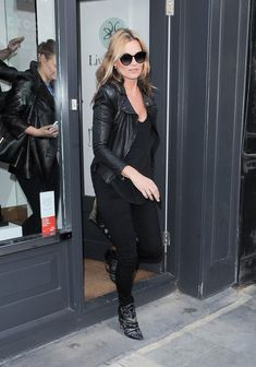 Kate Moss Leather Jacket - Kate Moss showed off her signature grunge-rocker style with this leather jacket while out in London.