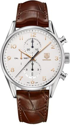 TAG Heuer Men's Swiss Automatic Chronograph Carrera Calibre 1887 Brown Leather Strap Watch 43mm CAR2012.FC6236