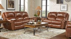 Abruzzo Brown 5 Pc Leather Living Room