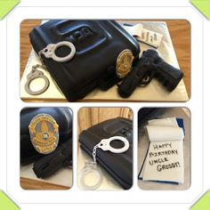 Law enforcement birthday cake. Gun case, badge, gun, handcuffs, notepad, Glock, LAPD.  www.facebook.com/cakeitorleaveitcakesbymarianne
