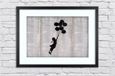 Banksy - Gaza Balloons Girl  - Large Mounted & Framed Poster Art Print A2 - 31 x 24 Inches  ( 75 x 61 cm ) by TheRedbusGallery on Etsy https://www.etsy.com/uk/listing/275003074/banksy-gaza-balloons-girl-large-mounted