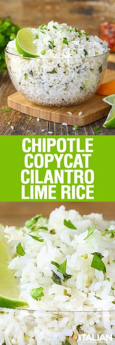 Chipotle Copycat Cilantro Lime rice is a simple recipe that is sure to become a staple in your house. Cilantro Lime Rice is perfectly soft and sticky with a nutty floral aroma. It has fresh cilantro speckled throughout and a bright flavor from citrus that makes this an incredible side dish that you are going to make again and again!