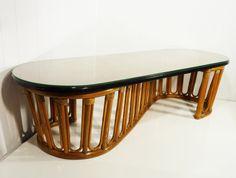 Calif Asia rattan coffee table 50s S shaped glass by gillardgurl, $295.00