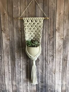 Loving these wall plant hangers. For more macrame pieces like this, check out my etsy shop: www.etsy.com/shop/AEBCreationsCO