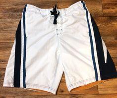 Speedo White & Blue Mens Swim Shorts Trunks Size Large Mesh Lined W/ Pockets  #Speedo #Trunks