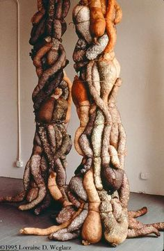 Styrofoam peanuts and pantyhose sculpture - columns that are perfect for a Silent Hill haunt!
