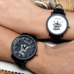 King Queen Leather Watches Women Lovers Quartz Watch Men Brand Luxury Wristwatch Female Male Quartz couples Ladies Clock Hours #Affiliate