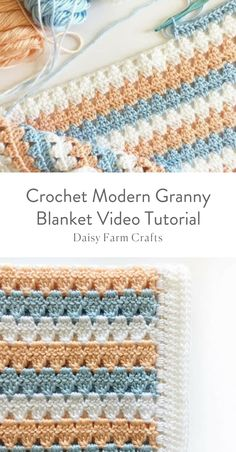 Daisy Farm Crafts - - This is a free pattern for a crochet modern granny blanket. As I made this crochet modern granny blanket, I felt like I was creating a series of triangles nestled in between each other which to me, gave the blanket a modern feel. Crochet Afghans, Motifs Afghans, Afghan Crochet Patterns, Baby Blanket Crochet, Crochet Baby, Free Crochet, Knitting Patterns, Crotchet, Knitting Ideas