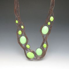 Mint Alabaster Necklace by Tamara Grüner ... Historical pressing in blackened metal, glass, plastic, blackened silver