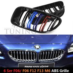 88.44$  Watch now - http://alihxv.worldwells.pw/go.php?t=32728112834 - M Look ABS 6 M Series for BMW F06 F12 F13 M6 Plastic Front Grill Dual Slat Glossy Black Finish 2012 2013 2014 2015 2016