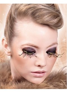 96573c874f9 Sexy Brown Gold Feather False Eyelashes Extensions False Eyelashes, Feather  Eyelashes, Gold Feathers,