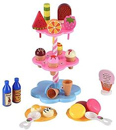 Liberty Imports Sweet Treats Ice Cream and Desserts Tower Wooden Play Food, Wooden Play Kitchen, Toy Kitchen, Toys For Girls, Kids Toys, Jelly Bean Machine, Anniversary Cake With Photo, Gum Flavors, Fruit Gums