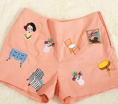 Embroidered cotton shorts (matching top available), etsy.