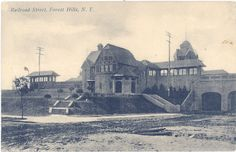 Forest Hills Gardens Station Square LIRR & Forest Hils Train Station Postcard, Courtesy of Bob Stonehill Postcard Collection Forest Hills Gardens, Grey Wallpaper Iphone, Garden On A Hill, Vintage New York, Kew Gardens, Train Station, New York City, Louvre, Nyc