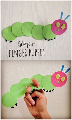 The Very Hungry Caterpillar - Finger Puppet Craft - The Joy of Sharing The Very Hungry Caterpillar Activities, Hungry Caterpillar Craft, Caterpillar Book, Bug Crafts, Preschool Activities, Kids Crafts, Teach Preschool, Preschool Programs, Storybook Crafts