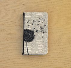 Black dandelion on printed dictionary page! Wallet phone case! -DEVICE: This flip case is available for - Iphone 4/4s and iPhone 5/5s 5C, -