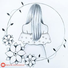 Pencil Drawings Of Girls, Girl Drawing Sketches, Girly Drawings, Art Drawings Sketches Simple, Easy Mandala Drawing, Circle Drawing, Mandala Art Lesson, Girl Drawing Pictures, Girl Drawing Easy