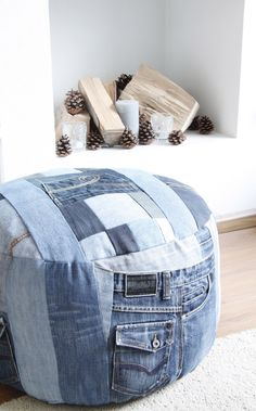 I could make this with all the old/cut-up jeans I have, and store my old stuff animals inside. -- DIY jeans
