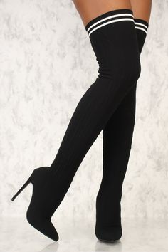 1381dccdf Sexy Black Knitted Pointy Toe Thigh High Sock Boots