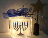 Happy Hanukkah Glass Block Light for the Holidays with vinyl lettering.