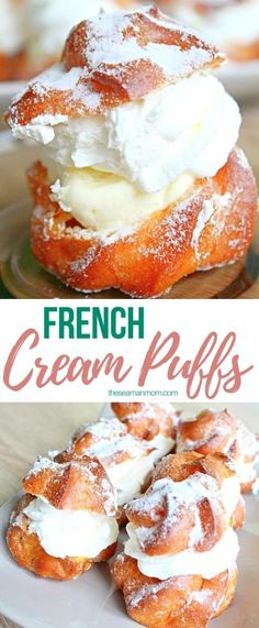 French Cream Puffs With Whipped Cream & Vanilla Filling These lovely french cream puffs are sure to wow your guests at any party! Delicate and airy, these delicious french cream desserts, originally called choux a la creme, are the perfect way to indulge! French Desserts, Köstliche Desserts, Delicious Desserts, French Sweets, French Recipes, French Food, Plated Desserts, Cream Puff Recipe, Cream Recipes