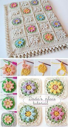 Free Crochet Patterns For Blankets Primavera Flowers Baby Blanket Free Crochet Pattern. Granny Square Crochet Pattern, Crochet Blanket Patterns, Baby Blanket Crochet, Crochet Motif, Crochet Flowers, Crochet Stitches, Crochet Baby, Knitting Patterns, Knit Crochet