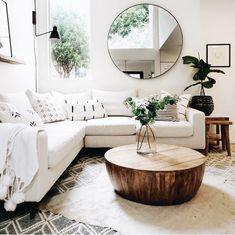 wall mirrorround mirror living room decor modern home decor houseplants unique modern living room ideas for your home - Pandriva awesome living room mirrors design ideas that you will admireStunning Awesome Living Home Decor Inspiration, Living Room Inspo, Minimalist Living Room, Home Decor, House Interior, Living Room Mirrors, Apartment Decor, Living Room Decor Modern, Home And Living