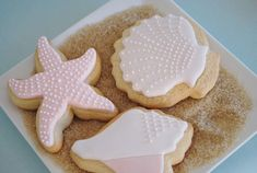 For Sienna's future little mermaid party - Little Mermaid party - cookies on a bed of graham crackers crumbs for sand