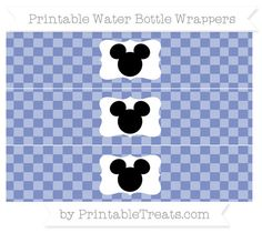 Free Pastel Dark Blue Checker Pattern Mickey Mouse Water Bottle Wrappers