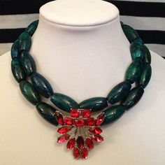 Chunky Green Statement Necklace with Red and Pink Vintage Brooch - Edna Belle Jewelry